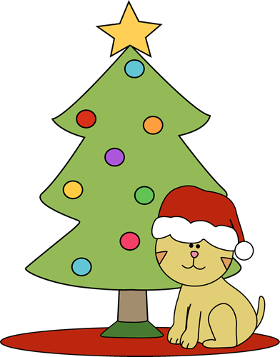 392x500 Cat Sitting In Front Of Christmas Tree Clip Art