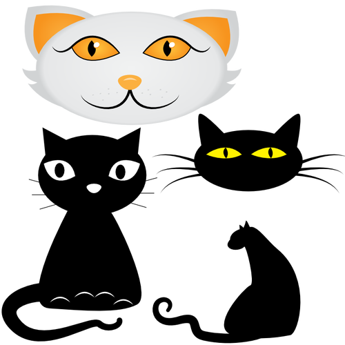 500x500 Four Cat Faces Vector Clip Art Public Domain Vectors Cats