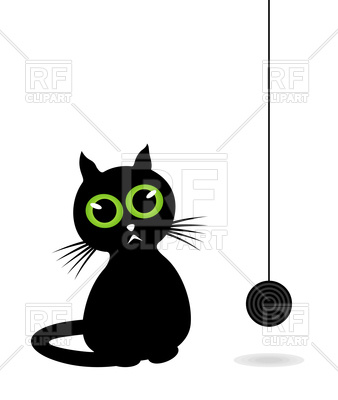 338x400 Black Cat With Hank Of Threads Royalty Free Vector Clip Art Image