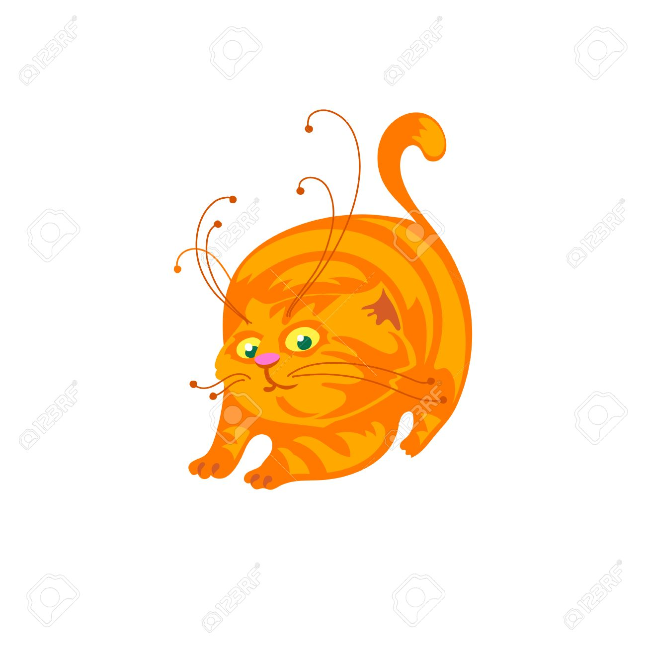 1300x1300 Cat Cartoon Vector Illustration. Cute Ginger Cat Stretching