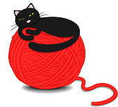 170x155 Clipart Of Cartoon Cute Black Cat Playing With Ball Of Yarn