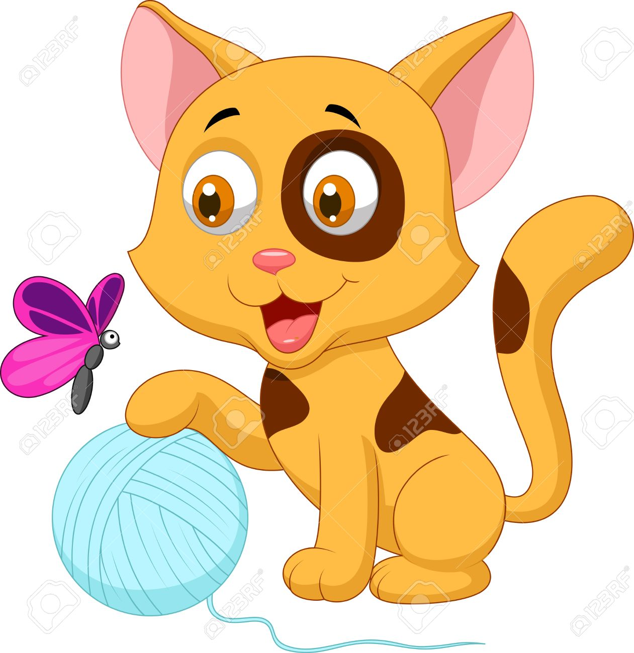 1261x1300 Cute Cat Cartoon Playing With Ball Of Yarn And Butterfly Royalty