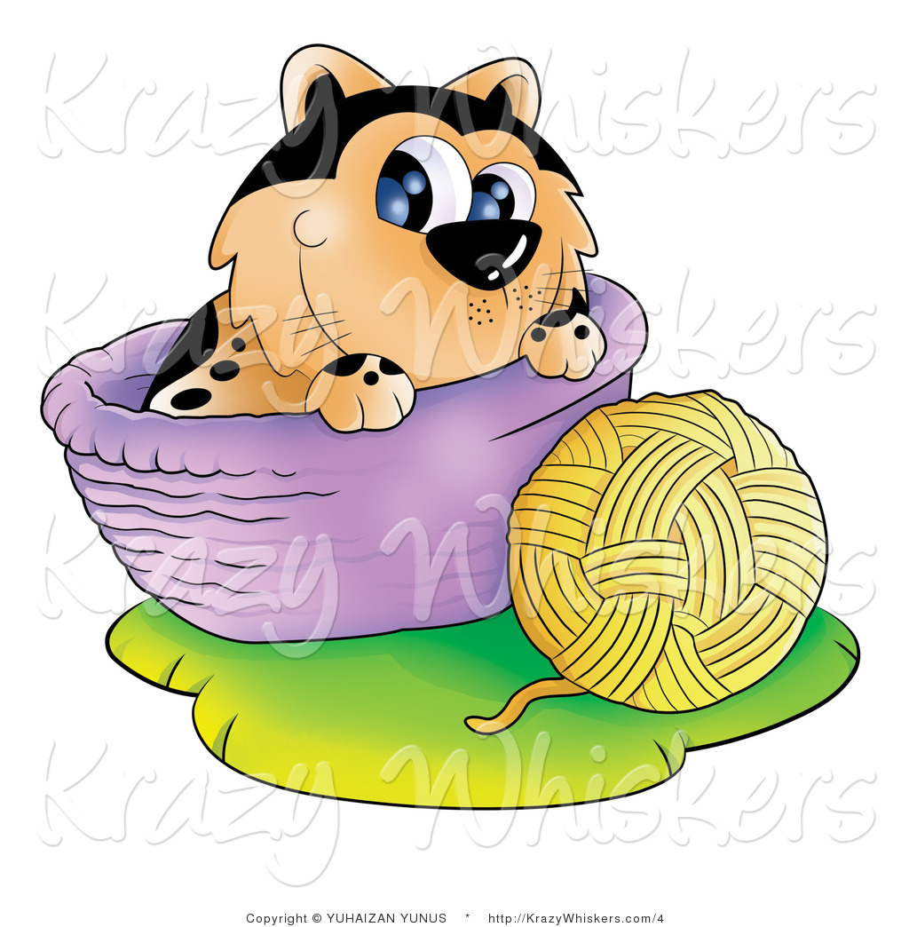 1024x1044 Kitty Clipart Of A Cat With A Ball Of Yarn And Basket