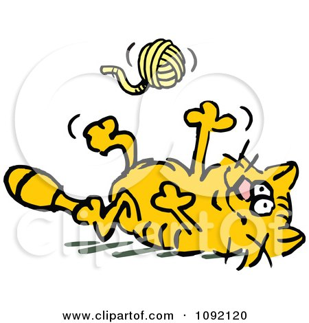 450x470 Royalty Free (Rf) Cat Playing With Yarn Clipart, Illustrations
