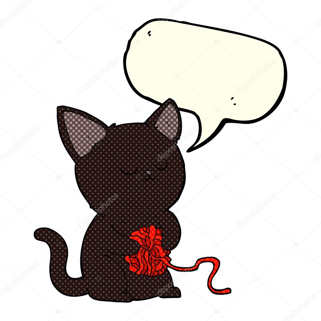 1024x1024 Cartoon Cute Black Cat Playing With Ball Of Yarn With Speech Bub