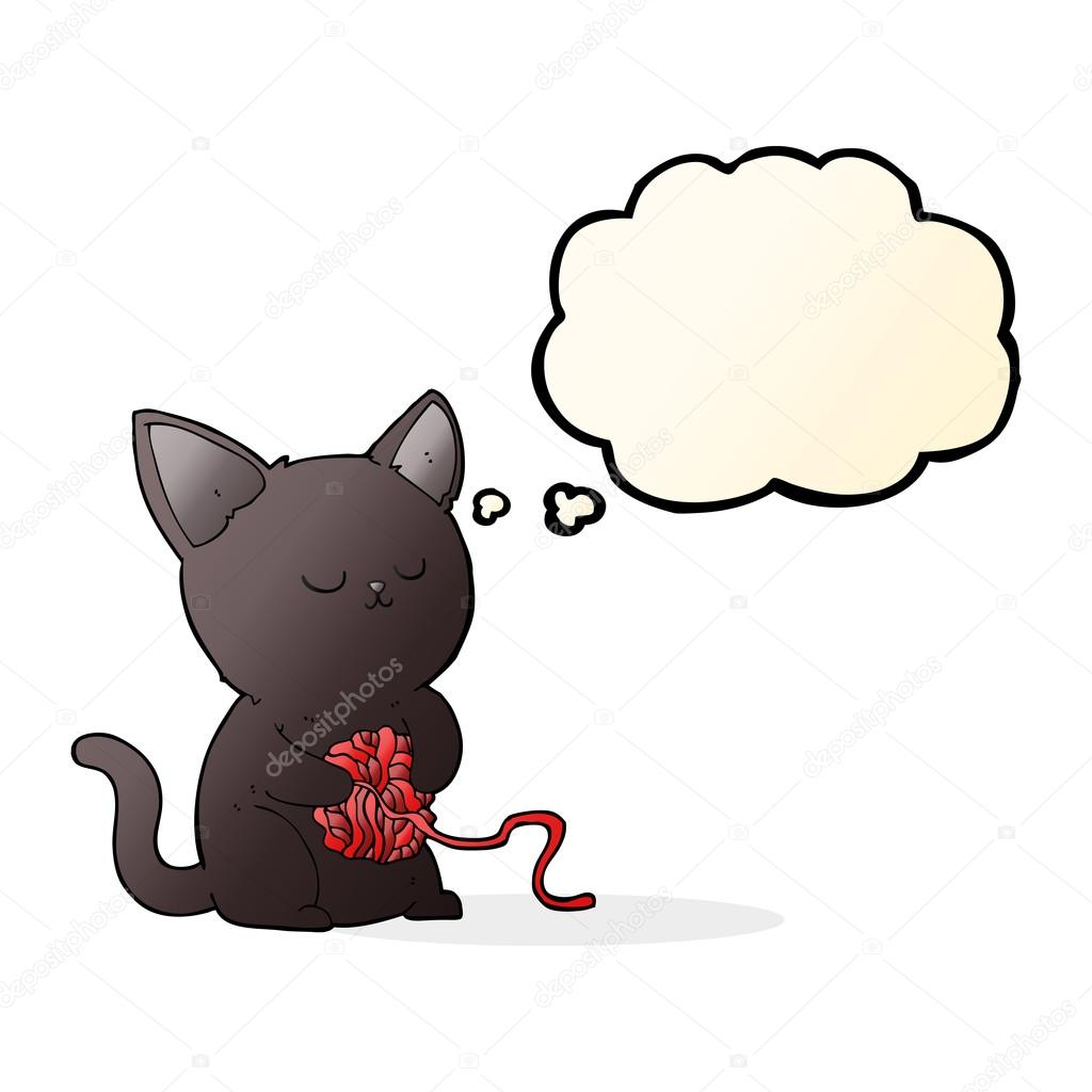 1024x1024 Cartoon Cute Black Cat Playing With Ball Of Yarn With Thought Bu