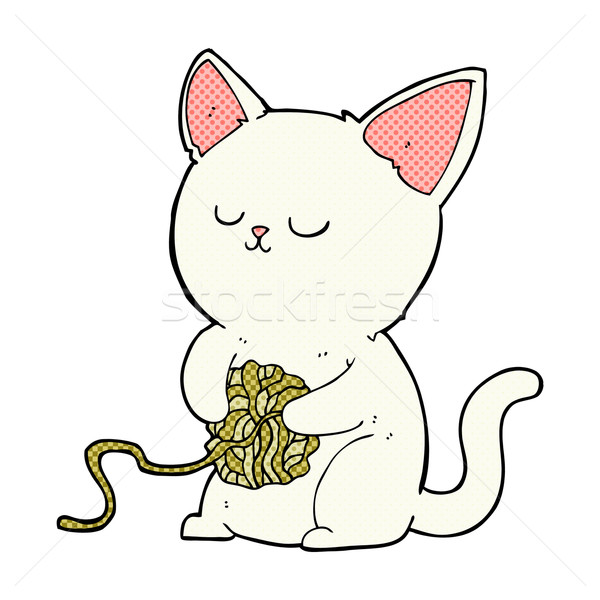 600x600 Comic Cartoon Cat Playing With Ball Of Yarn Vector Illustration