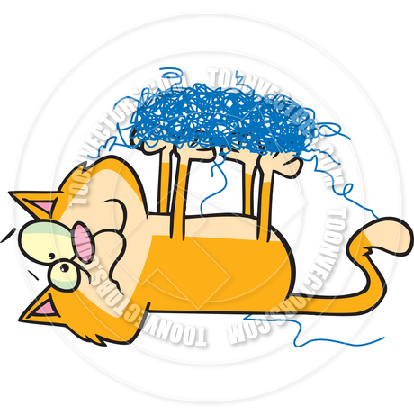 460x460 Cartoon Cat Tangled In Yarn By Ron Leishman Toon Vectors Eps