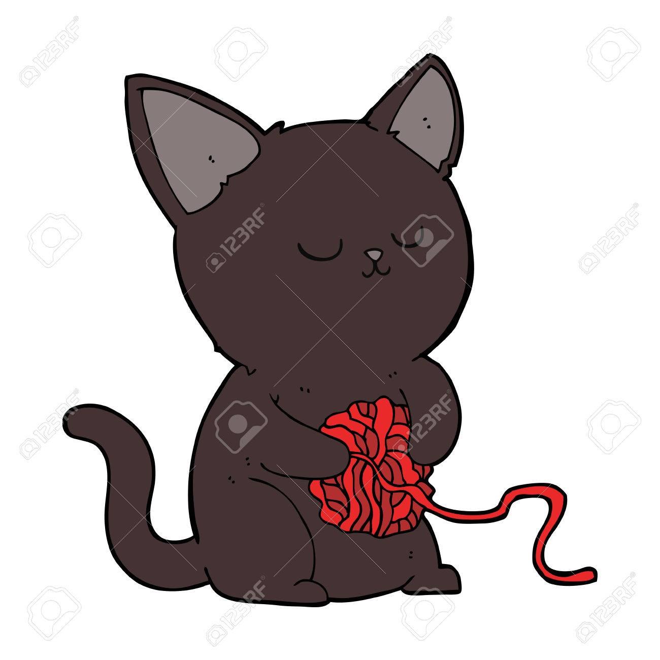 1300x1300 Cartoon Cute Black Cat Playing With Ball Of Yarn Royalty Free