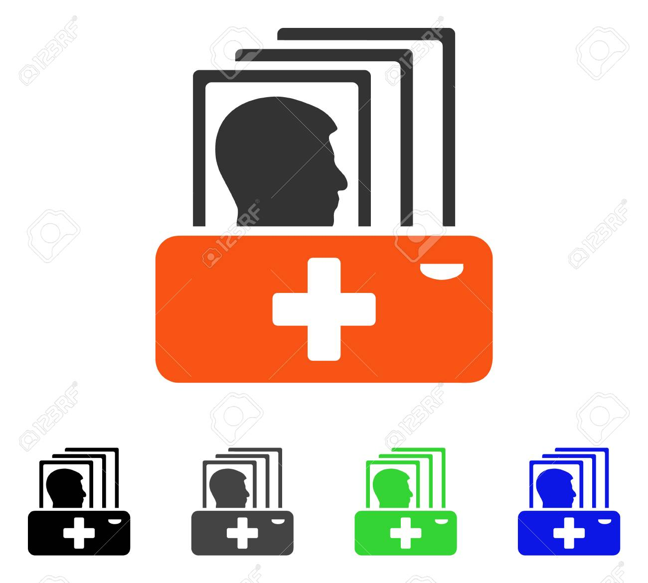 1300x1170 Patient Catalog Flat Vector Pictogram. Colored Patient Catalog