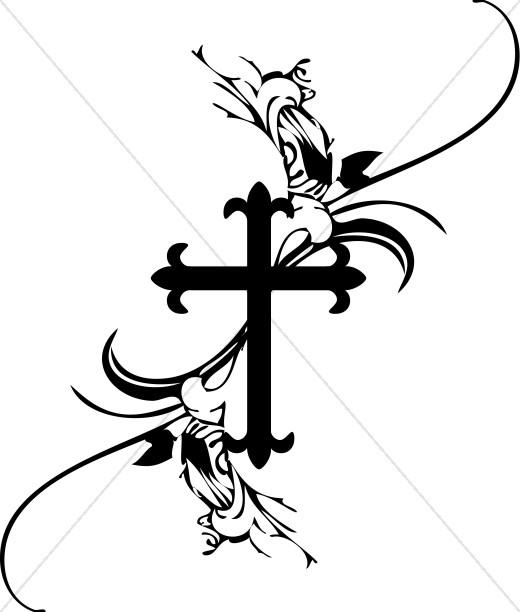 Fancys cross. Catholic funeral clipart free