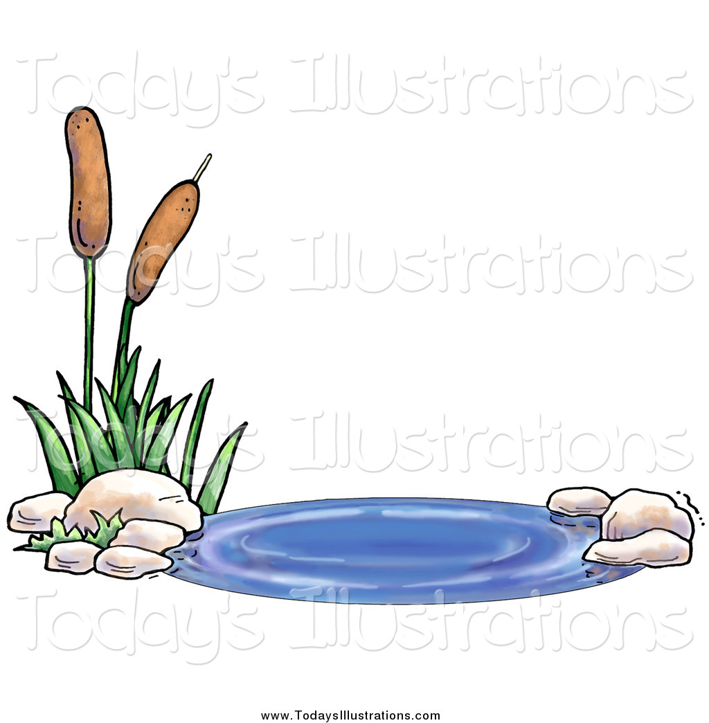 1024x1044 Clipart Of A Pond With Aquatic Cattail Plants By Gina Jane