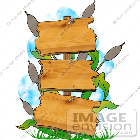 450x450 Three Tiered Wooden Sign And Cattails In A Swamp Clipart