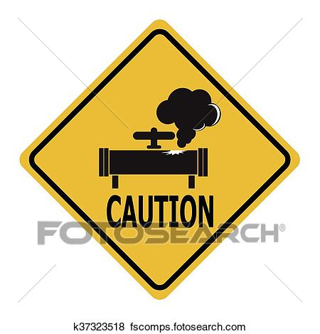 450x470 Clip Art Of Gas Leak Warning Sign. Pollution Gas Pipe Icon Sign