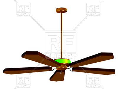 400x300 Ceiling Wooden Fan With Lamp Royalty Free Vector Clip Art Image