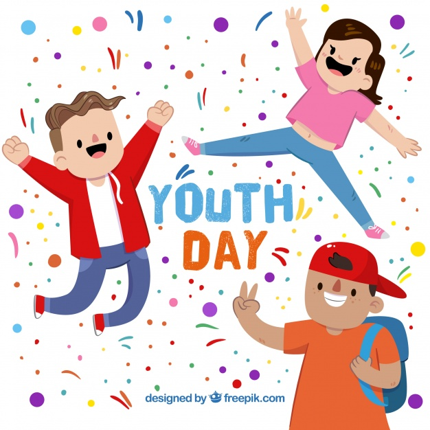 626x626 Background Of Funny Young People Celebrating The Youth Day Vector