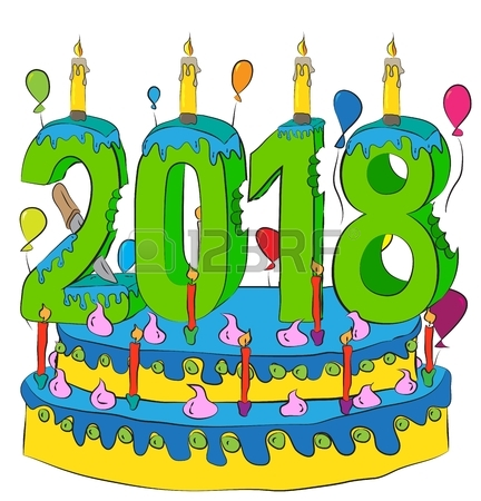 432x450 Birthday Cake With New Year Number 2018 Candle, Celebrating 2018
