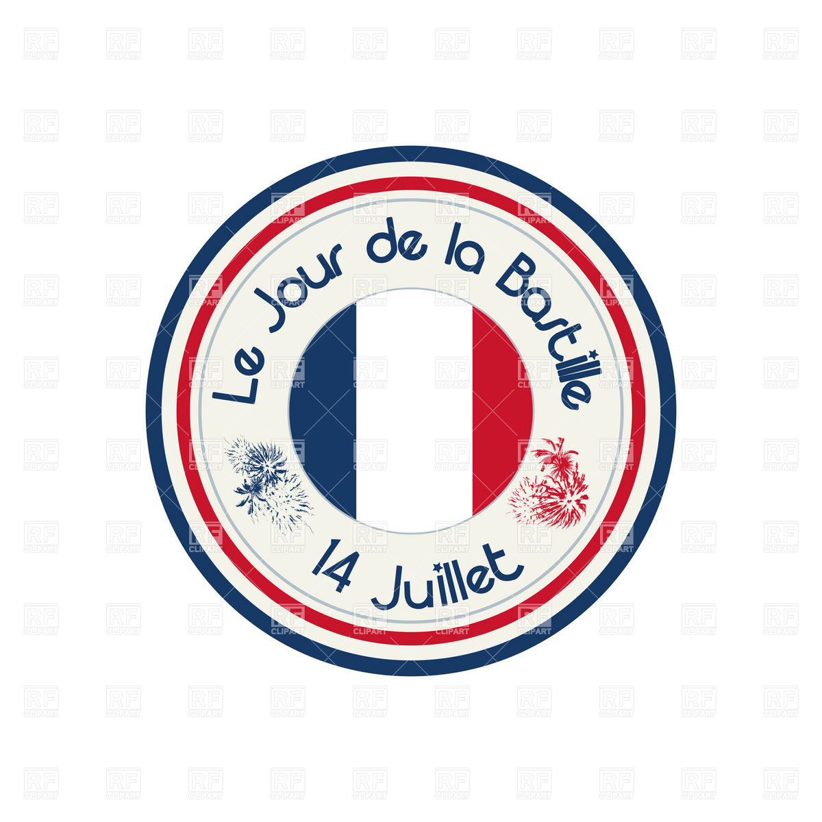 1200x1200 Bastille Day Celebration Stamp Royalty Free Vector Clip Art Image