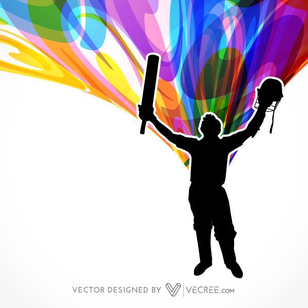 600x600 Black Batsman Silhouette Winning Celebration Free Vector
