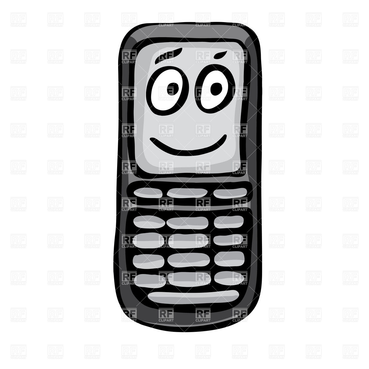 1200x1200 Modern Cell Phone With Blank Screen Royalty Free Vector Clip Art