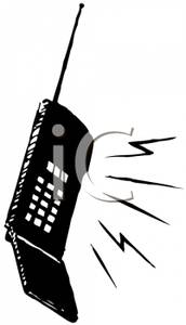 172x300 And White Ringing Cell Phone Clip Art Image
