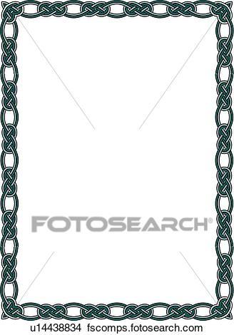 328x470 Clipart Of Green Knot Celtic Border U14438834