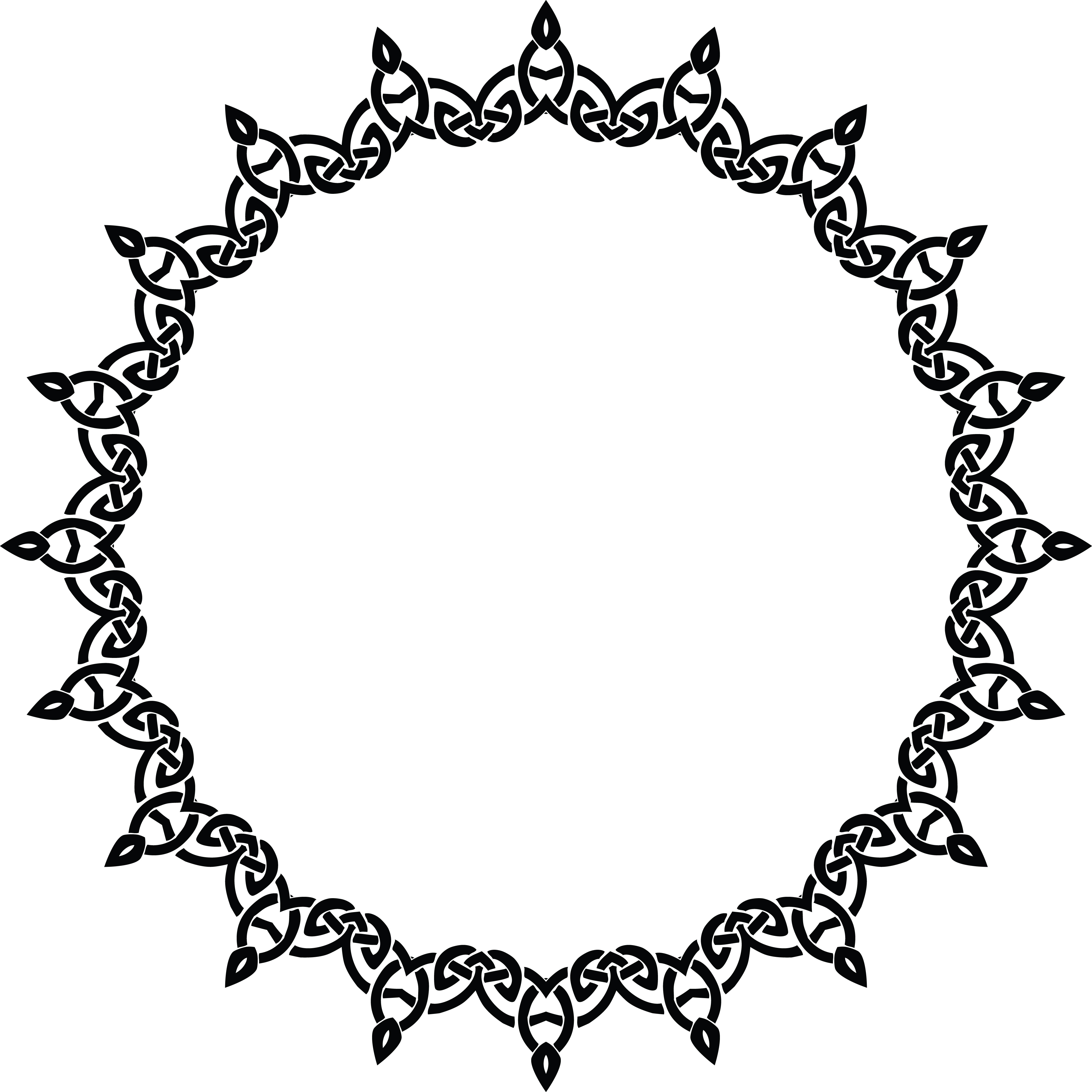 4000x4000 Clipart Of A Celtic Round Frame Border Design Element In Black