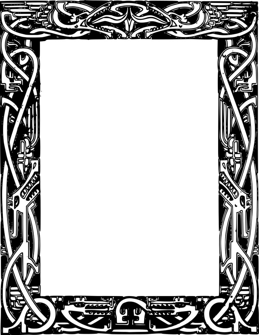 850x1100 Celt Clipart Frame