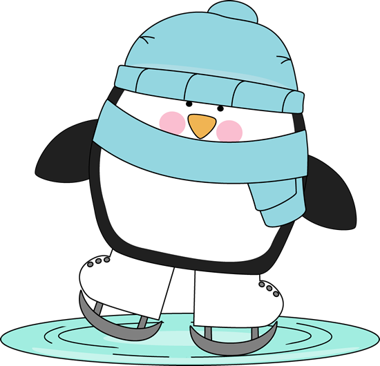 550x530 Penguin Skating On Ice. Winter Clip Art Penguins