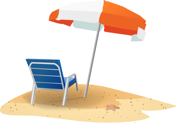 600x417 Beach Chair And Umbrella Clip Art