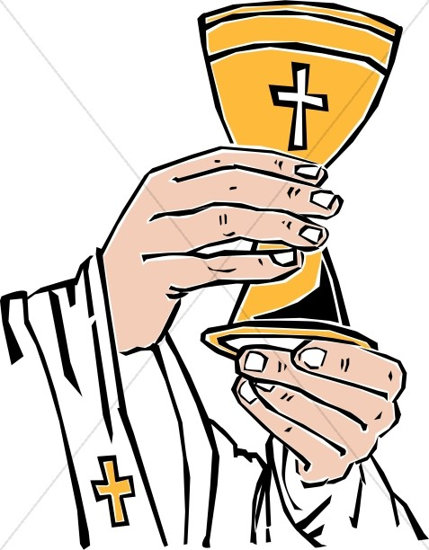 477x612 Cross Chalice Lifted By Priest Communion Clipart
