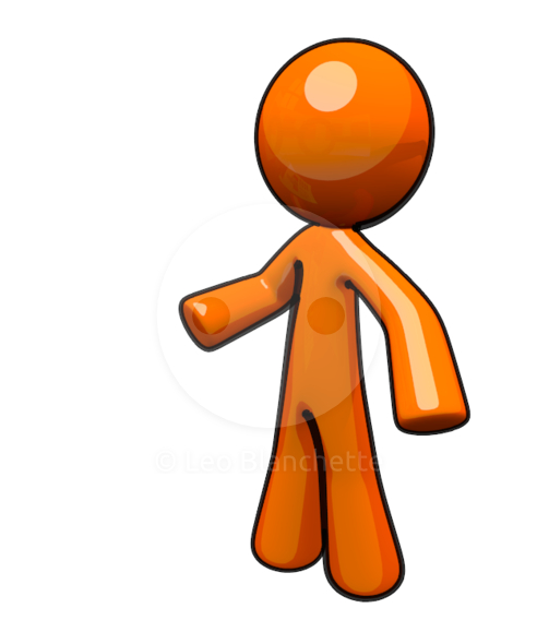 492x590 Clip Art Illustration Of 3d Orange Man Standing Up Stock Image