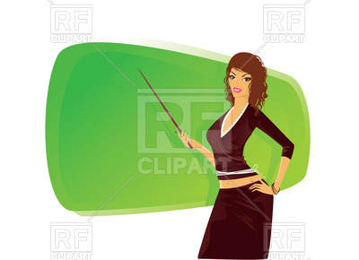 400x290 Attractive Woman Teacher With Pointer Near Chalkboard Royalty Free