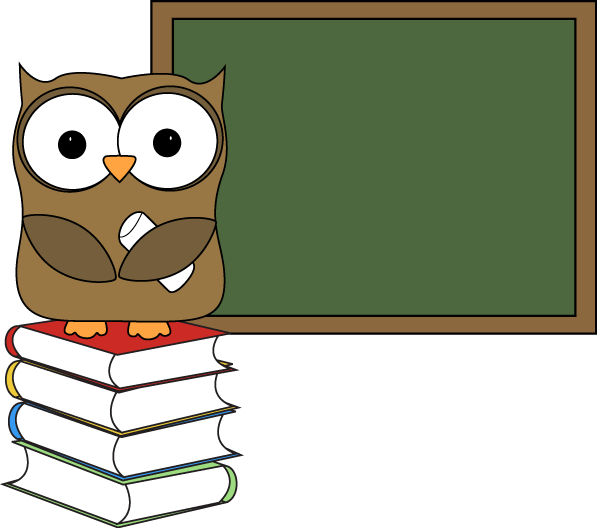 597x528 Owl With Books And Chalkboard Clip Art