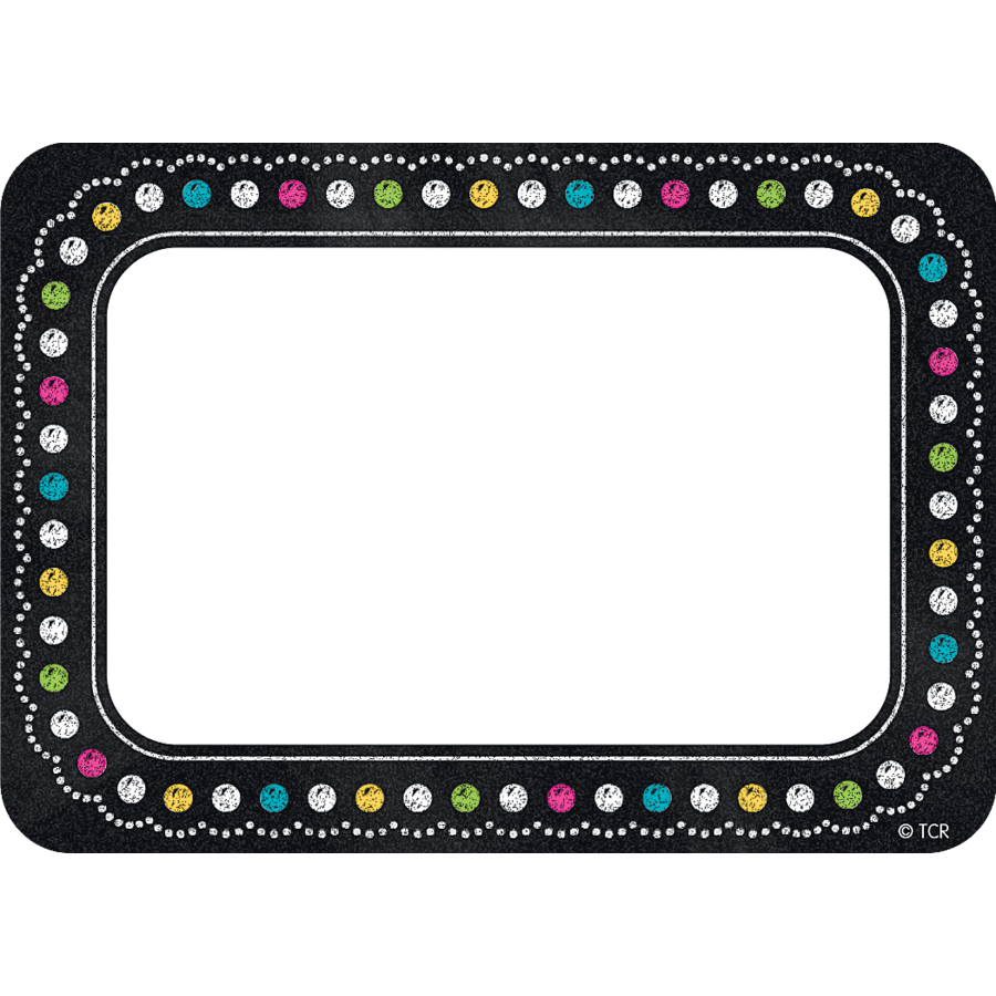 900x900 Chalkboard Brights Name Tagslabels