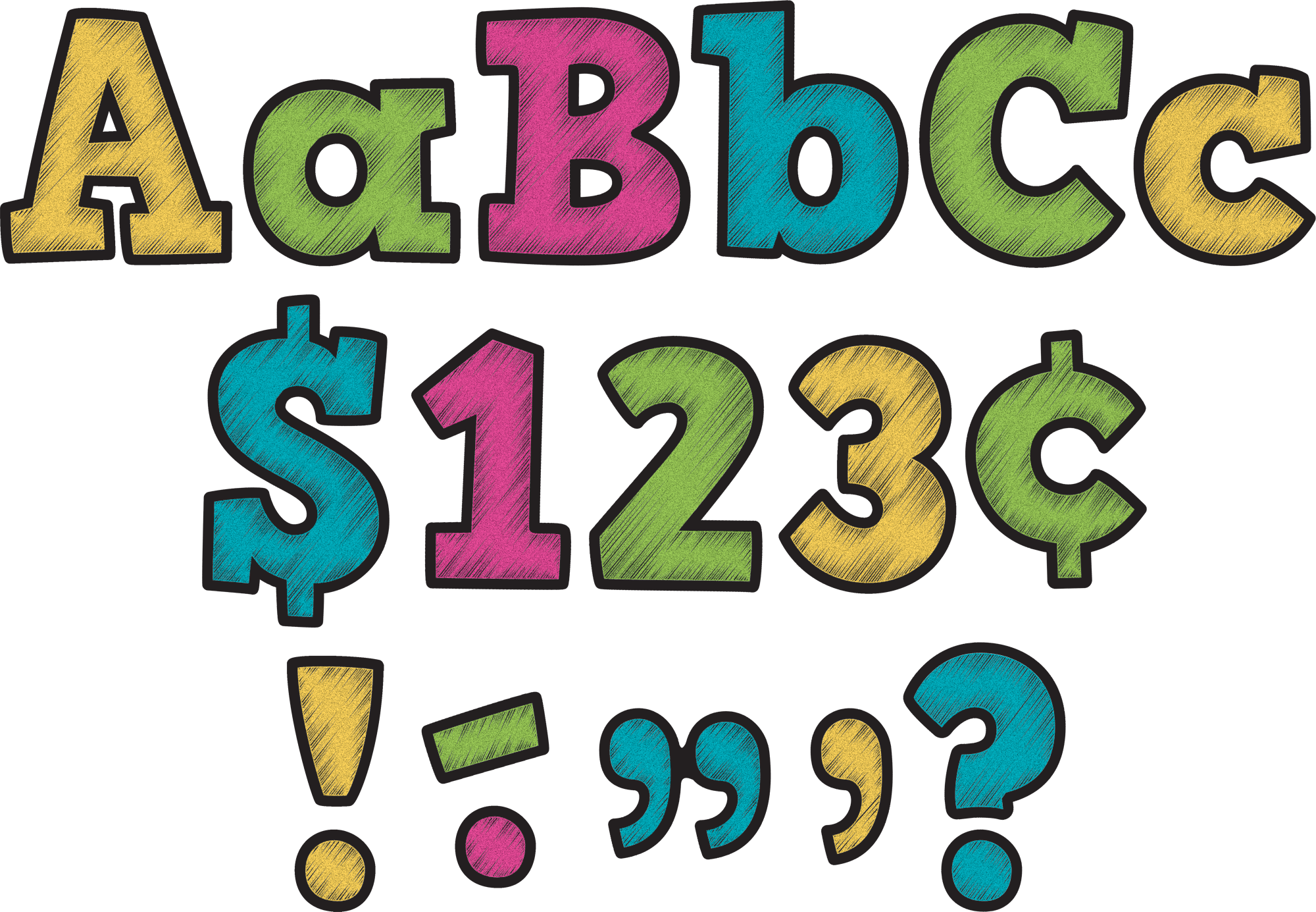 2000x1385 Chalkboard Brights Bold Block 4 Letters Combo Pack