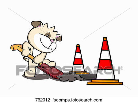 450x338 Clip Art Of A Cartoon Dog Digging A Hole In The Road 762012
