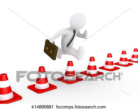 450x357 Clipart Of Businessman Overcoming Problems K14890881