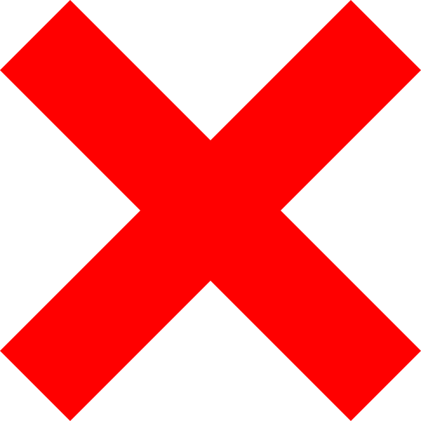 Red x symbol. Check mark transparent background