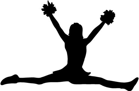 458x301 Cheerleading Clipart Black And White Poms