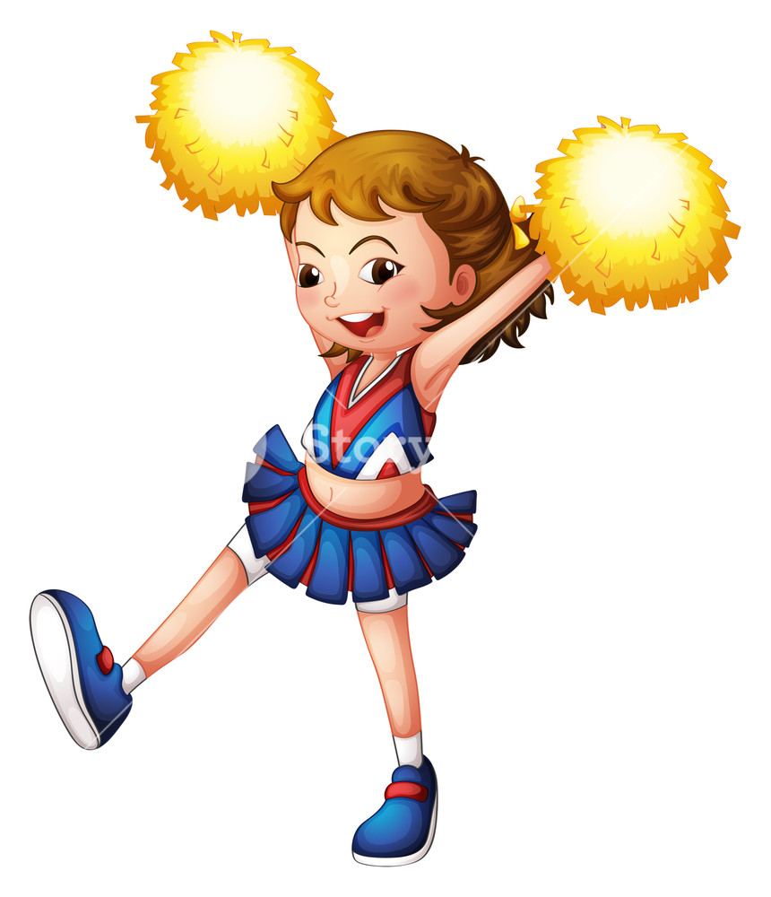 860x1000 Illustration Of A Cheerleader With Yellow Pompoms On A White