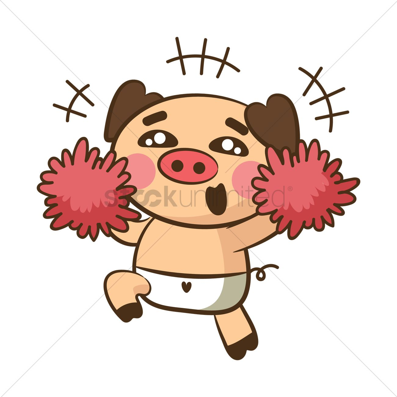 1300x1300 Pig Character As Cheerleader Vector Image