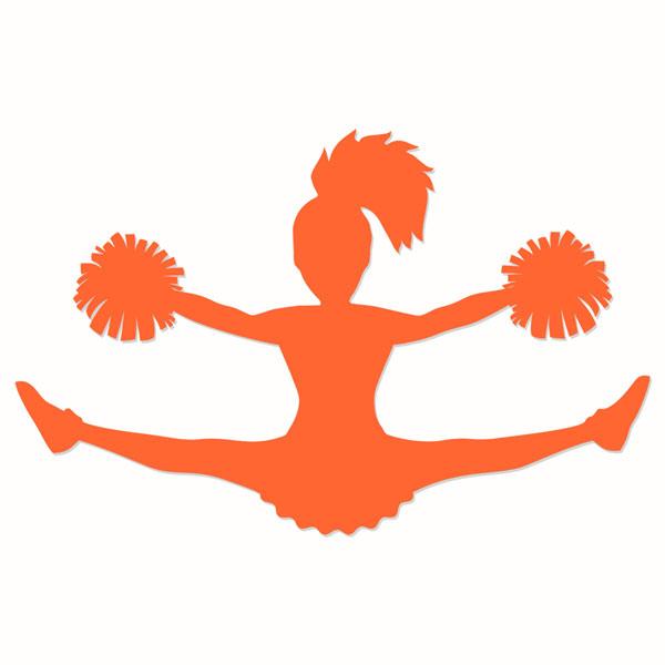 Cheerleader orange. Silhouette clipart free download