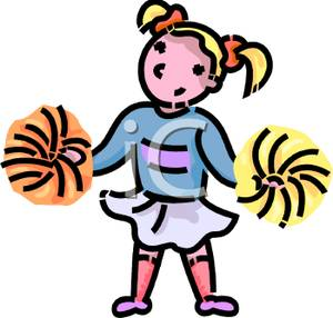 300x286 Cartoon Cheerleader With Pompoms