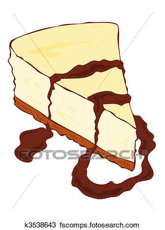 337x470 Clipart Of Cheesecake Slice With Chocolate. K3538643