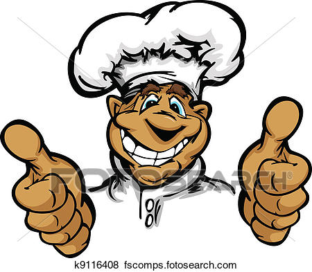 450x393 Clip Art Of Smiling Cartoon Kitchen Chef With Hat Mascot Vector
