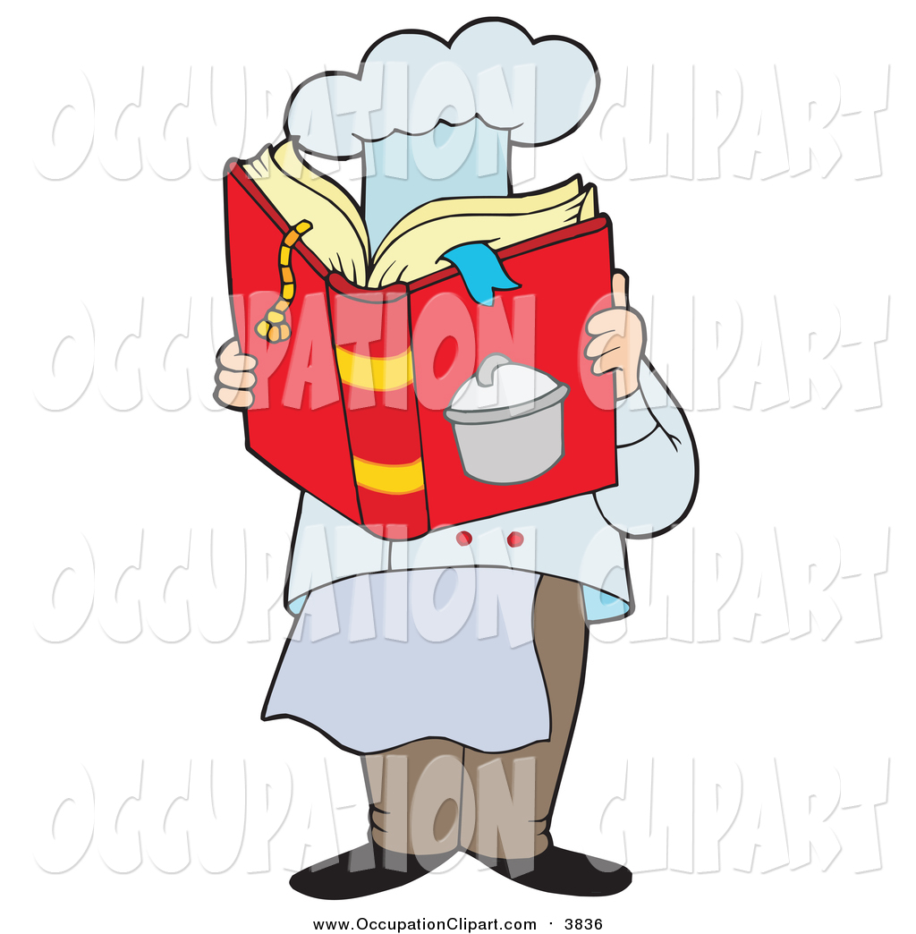 1024x1044 Clip Art Of A Male Chef Reading A Cook Book By Visekart