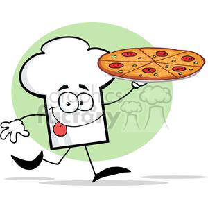 300x300 Royalty Free Cartoon Chefs Hat Character Holding And Running