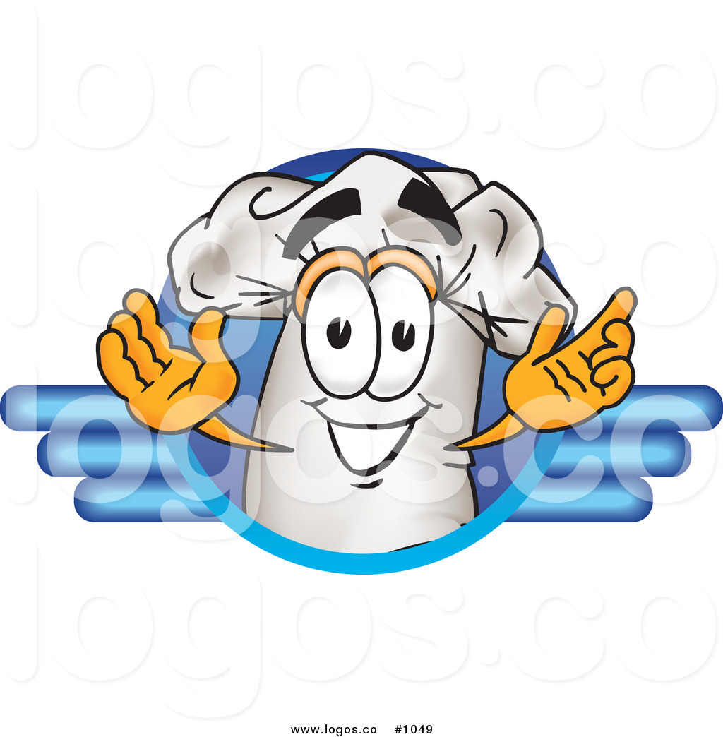 1024x1044 Royalty Free Cartoon Vector Logo Of A Chef Hat Mascot Within Blue