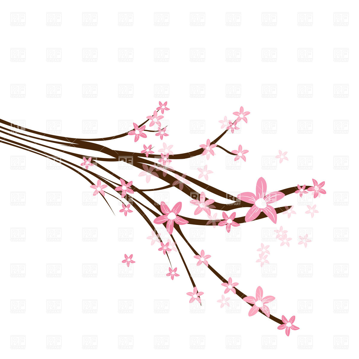 1200x1200 Blossoming Cherry Branch Royalty Free Vector Clip Art Image
